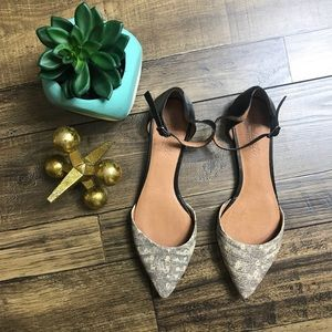Madewell D'Orsay Snake Print Flats NWOT Size 8